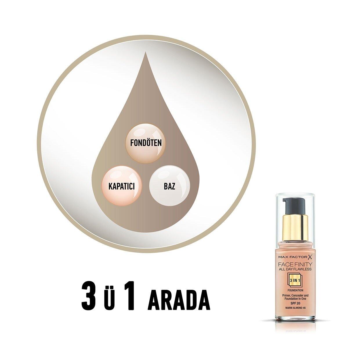 Facefinity 3'ü 1 Arada Fondöten No. 45 Warm Almond