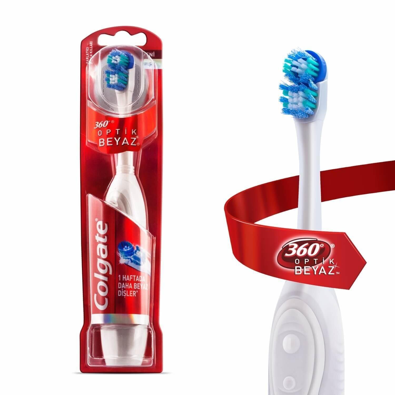 360 Optik Beyaz Pilli Elektrikli Diş Fırçası