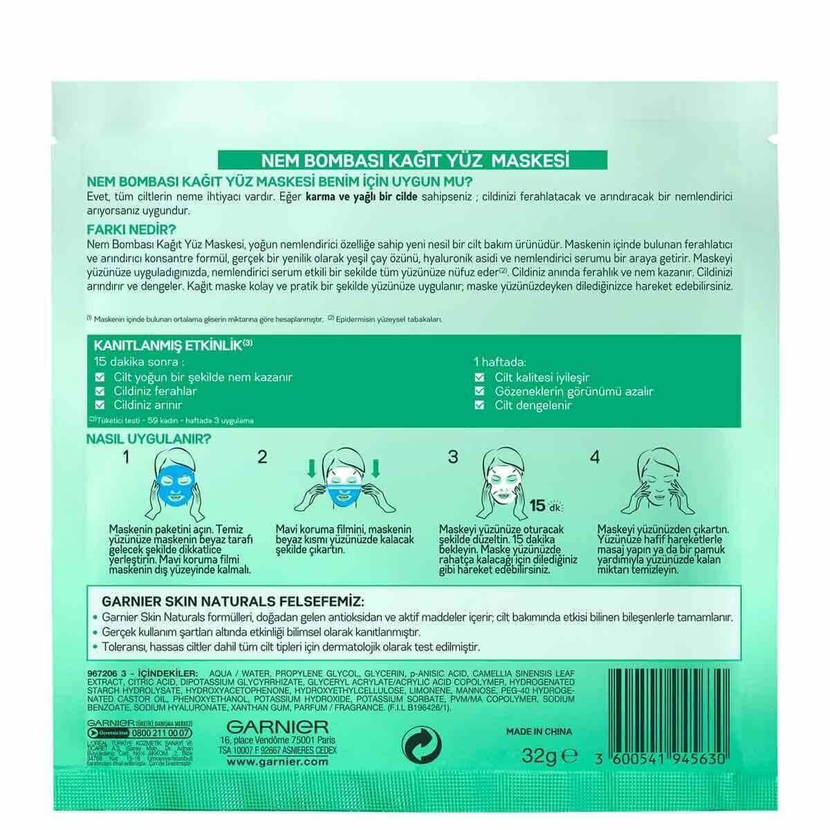 Nem Bombası Ferahlatıcı Kağıt Maske 32 gr