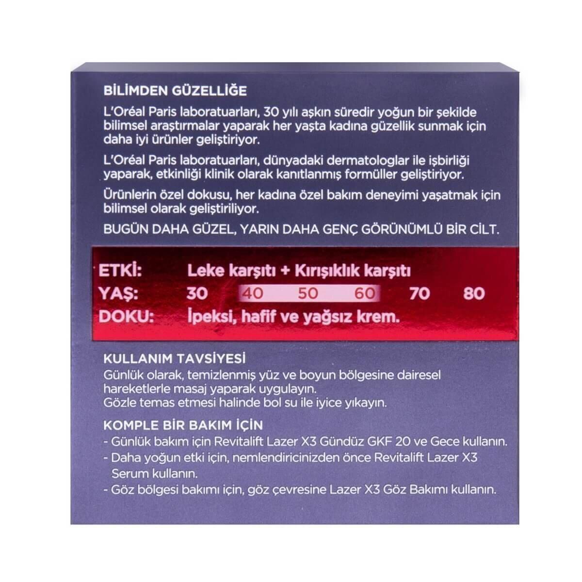 Revitalift Lazer X3 Leke ve Kırışıklık Karşıtı Bakım GKF20