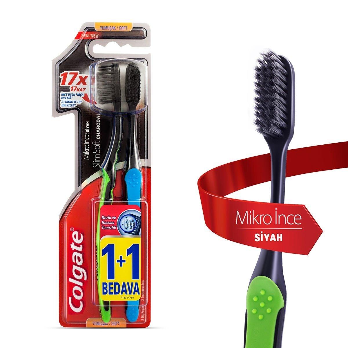 Mikro İnce Siyah Diş Fırçası Yumuşak 1+1, Derin ve Hassas Temizlik