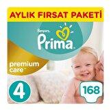 Premium Care 4 Maxi Bebek Bezi Aylık Fırsat Paketi 168 Adet