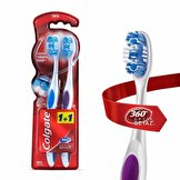 360 Optik Beyaz Diş Fırçası Orta 1+1, Dil ve Yanak Temizleyici ile