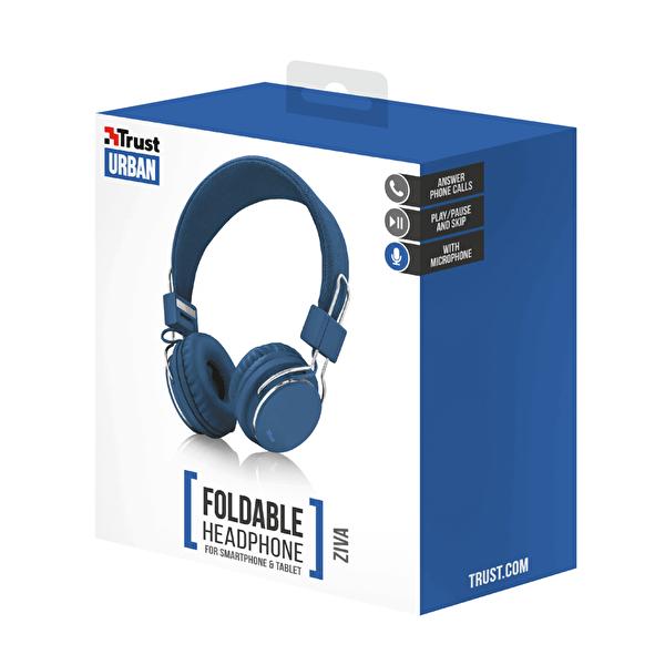 Ziva Kablolu Kulak Üstü Kulaklık Katlanabilir Mikrofonlu Mavi 21823