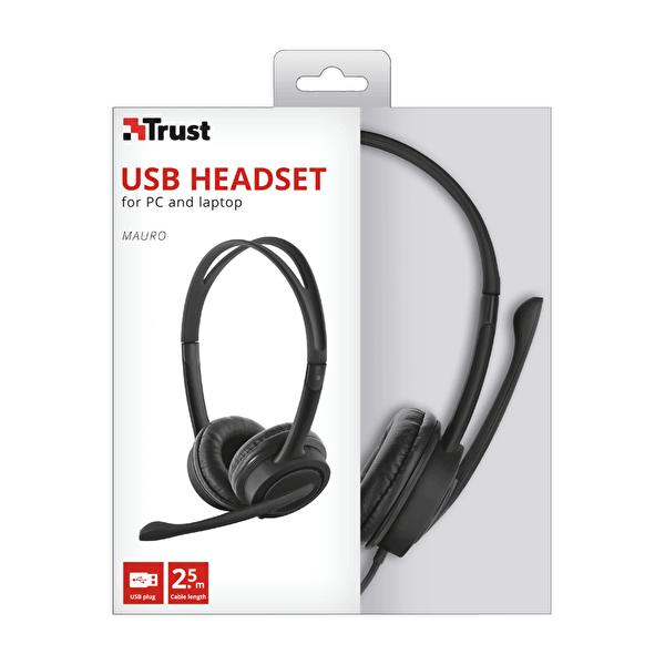 Mauro Kulak Üstü Kulaklık USB Mikrofonlu Siyah