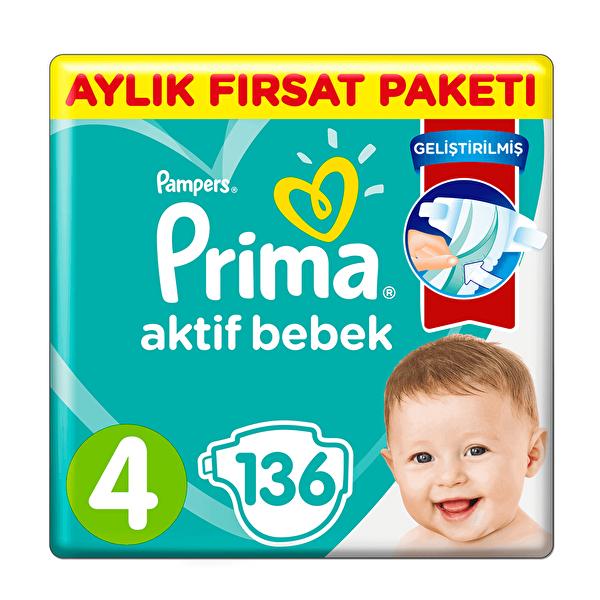 Aktif Bebek 4 Maxi Bebek Bezi Aylık Fırsat Paketi 136 Adet