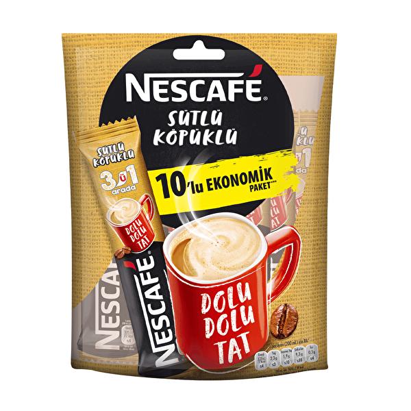3'ü 1 Arada Sütlü Köpüklü Kahve 10 Adet