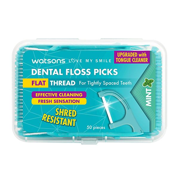 Flat Thread Dental Floss Picks Mint 50 Adet
