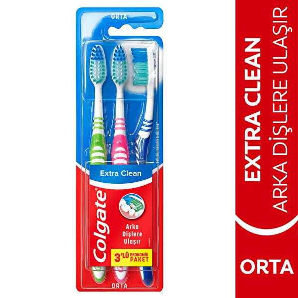 Extra Clean Dil Temizleyicili Orta Diş Fırçası 2+1